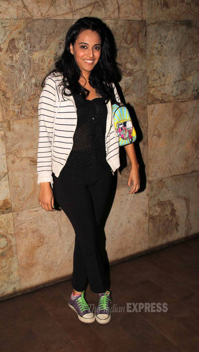 'Raanjhanaa' actress Swara Bhaskar was cute in a jacket with black cropped pants and sneakers. (Photo: Varinder Chawla)