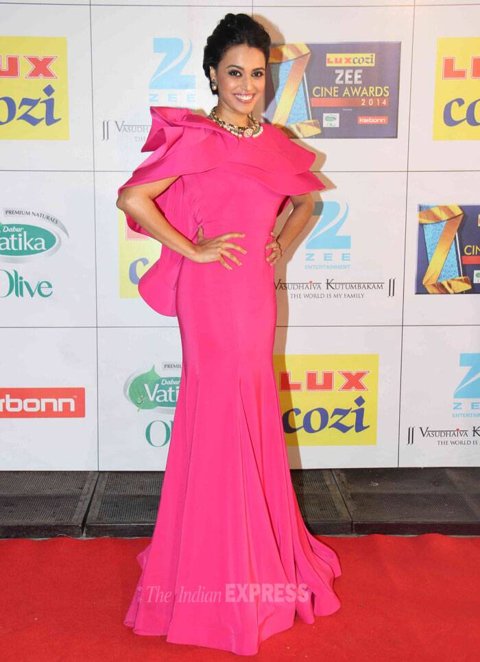 Swara Bhaskar was a disappointment in  pink Gauri and Nainika gown with dramatic ruffles. (Photo: Varinder Chawla)