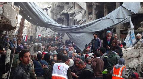 Palestinian refugees suffering in Syria's Yarmuk camp.