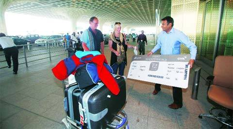 Passengers arriving at T2 on Wednesday got a souvenir. (Pradip Das)
