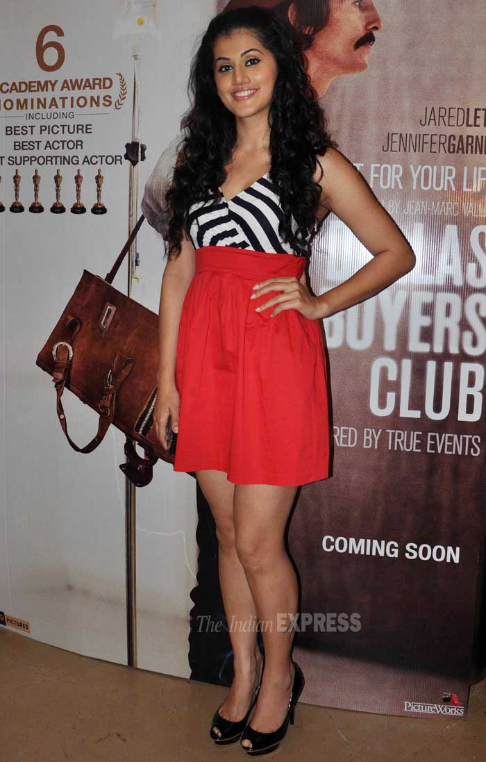 Actress Taapsee Pannu was chic in a red dress with striped monochrome bodice. (Photo: Varinder Chawla)
