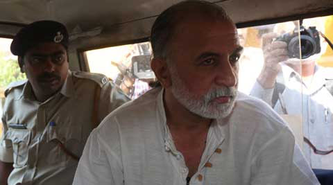 Tehelka founder Tarun Tejpal accused the police of twisting and concealing the facts by holding back CCTV footage.  (IE Photo)