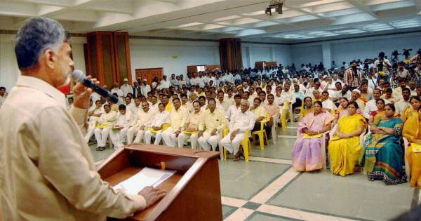 TDP chief N Chandrababu Naidu addressing Seemandhra TDP party members' meeting in Hyderabad on Monday. PTI