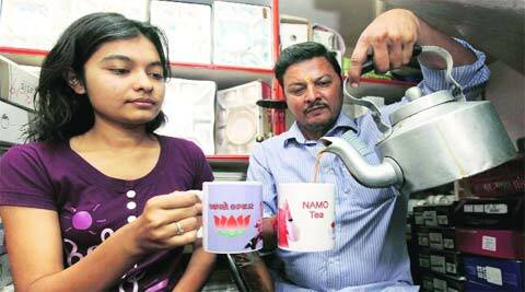 NaMo mug is an eye-catcher at a shop in Vadodara's Mangal Bazar. (Bhupendra Rana)