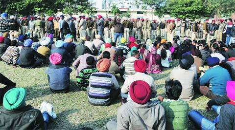 At the teachers' protest in Ludhiana on Wednesday. (Gurmeet Singh)