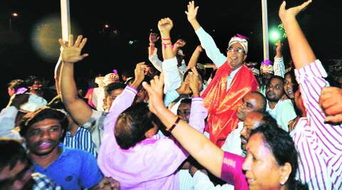 TRS activists celebrate in Hyderabad on Thursday. (PTI)