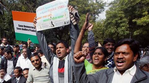 Protesters at Jantar Mantar against the Centre's move to carve out a separate state of Telangana. (PTI)