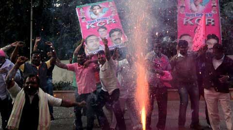 Separate statehood supporters danced to the tunes of popular songs hailing Telangana. (IE Photo: Ravi Kanojia)