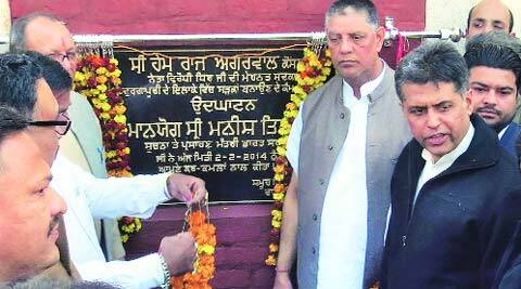 MP Manish Tewari inaugurates  a road project in Haibowal  on Sunday. (Express)
