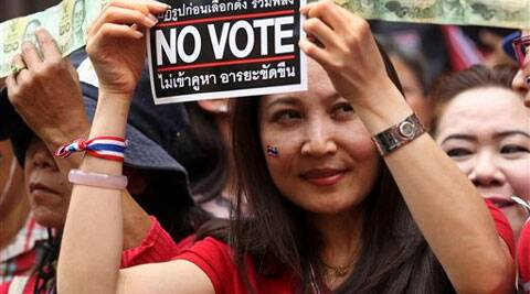 Thailand's general election is scheduled for Sunday, but the main opposition Democrat Party is boycotting it, and protesters are seeking to scuttle the vote. (AP)