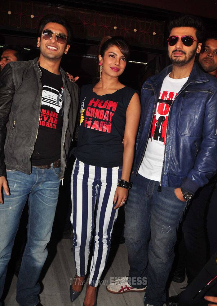Priyanka Chopra was sassy in striped pants, while Ranveer and Arjun wore jackets and jeans. All three sported 'Gunday' themed tee shirts. (Photo: Varinder Chawla)