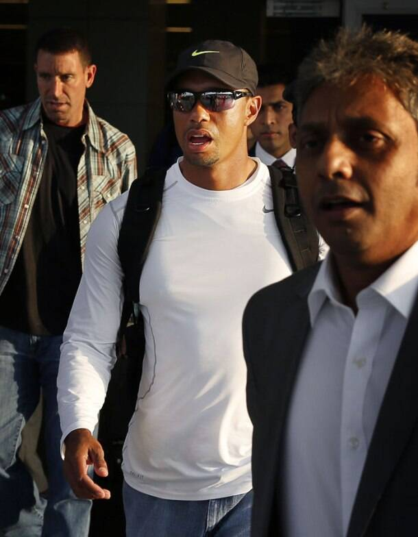 Tiger Woods arrives in India