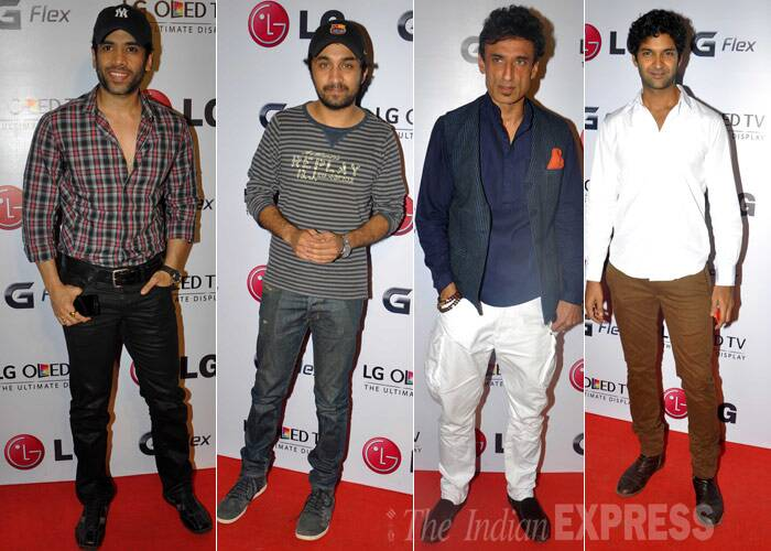 Tusshar Kapoor was casual, so was Shakti Kapoor's son Sidhant. Rahul Dev wore a vest jacket on white pants, while Purab Kohli was smart in a crisp shirt and brown pants. (Photo: Varinder Chawla)