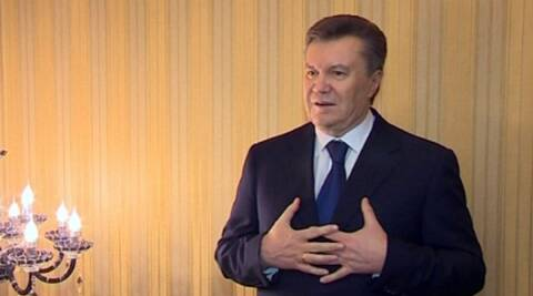 Ukraine's President Viktor Yanukovych was stopped at the airport to prevent him from flying out. (AP)