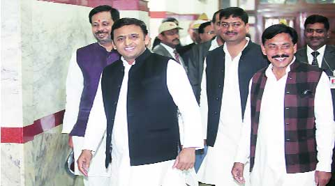 Chief Minister Akhilesh Yadav with other legislators ahead of the fourth day of Assembly session in Lucknow on Monday