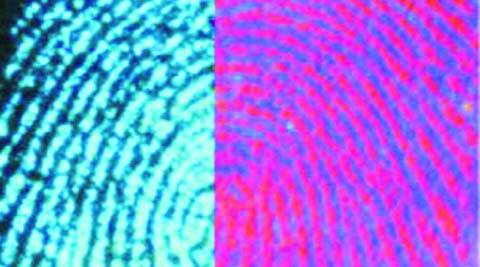 Fingerprint in red is taken with the help of ordinary powder and the one in blue is obtained with the help of the powder prepared by Dr Vishal Sharma.