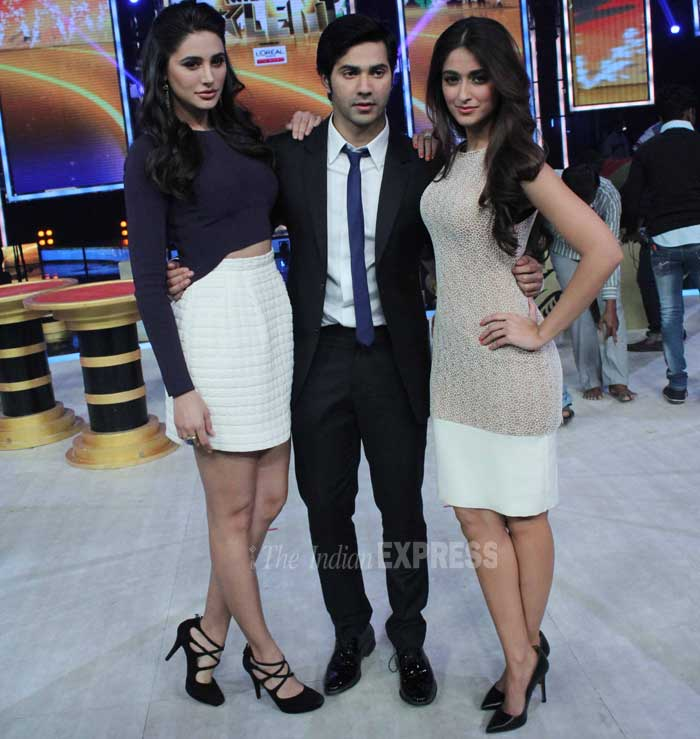 The 'Main Tera Hero' actors Varun Dhawan, Illeana D'cruz and Nargis Fakhri were spotted promoting their film on the sets of reality show 'India's Got Talent' on Thursday (February 27). (Photo: Varinder Chawla)