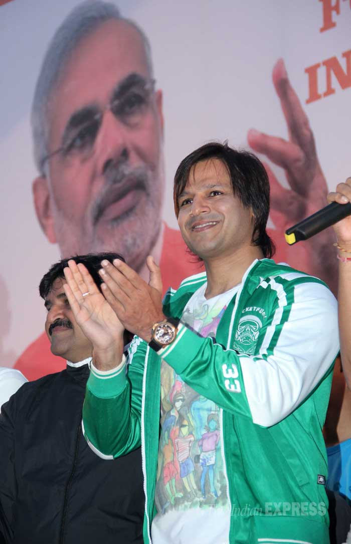 Vivek was happy to cheer for the BJP leader. (Photo: Varinder Chawla)