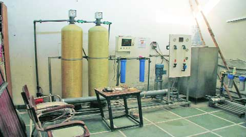 The water purifier lying unused for the past two years at the MC's Zone D office in Ludhiana.