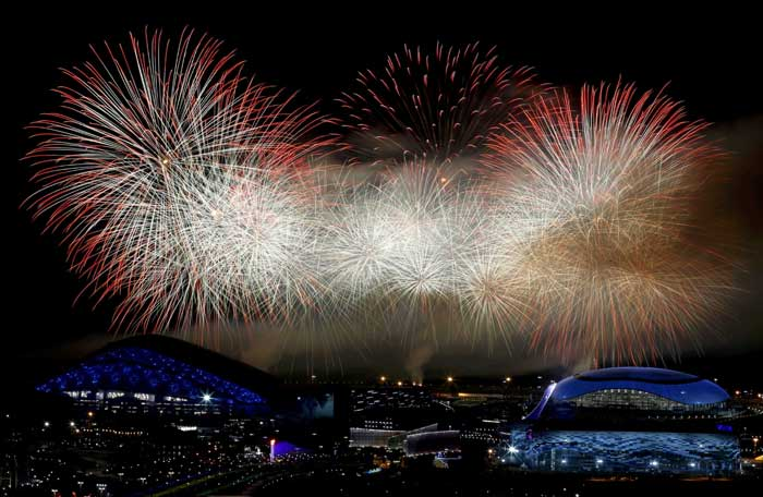 That was a wink to a technical glitch in the February 7 opening ceremony, when one of the five Olympic rings in a wintry opening scene failed to open. The rings were supposed to join together and erupt in fireworks. (Reuters)