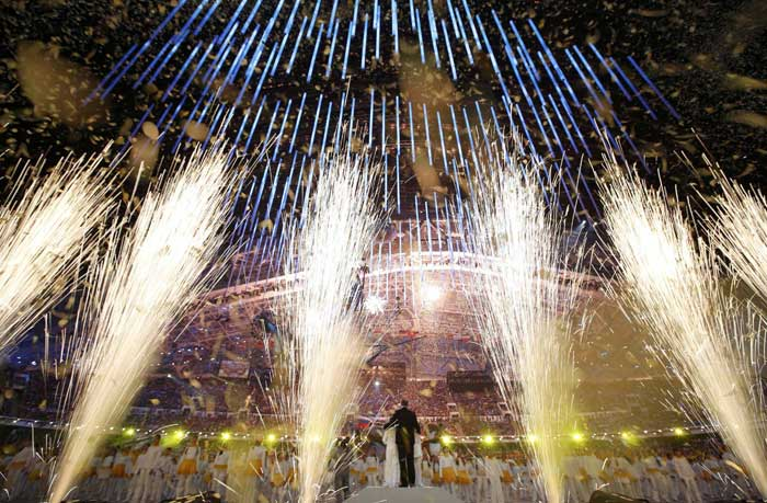 The closing ceremony, a farewell from Russia with love, pageantry and protocol, started at 20:14 local time a nod to the year that Putin seized upon to remake Russia's image with the Olympics' power to wow and concentrate global attention and massive resources. (Reuters)