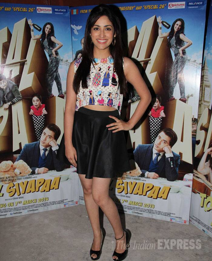 Vicky Donor actress Yami Gautam sported a trendy crop top with a black mini by Nishka Lulla and peep-toes for the promotions of her soon-to-release rom-com 'Total Siyappa'. (Photo: Varinder Chawla)