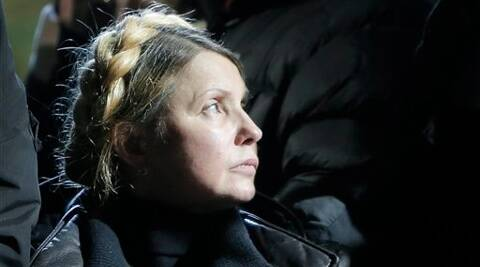 Former Ukrainian prime minister Yulia Tymoshenko addresses the crowd in central Kiev. (AP)