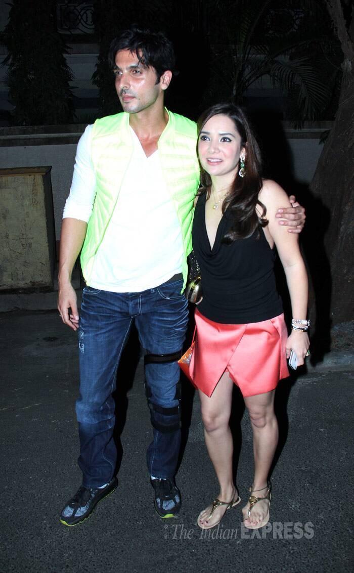 Brother Zayed Khan kept it causal while his wife Malaika was in a black halter-top  and coral mini skirt. (Photo: Varinder Chawla)