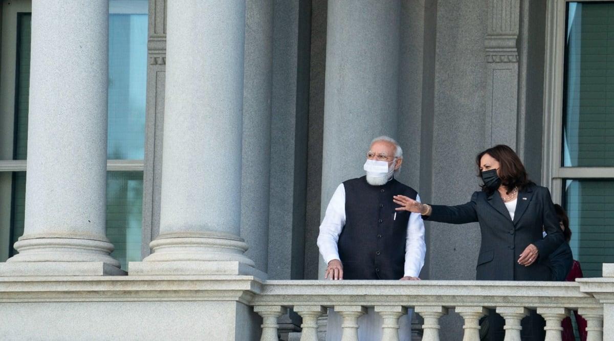 Narendra Modi, Kamala Harris, Modi meets Kamala Harris, PM Modi in US, UNGA< Quad summit, Modi-biden meeting, India-US ties, India America, India news, Indian express