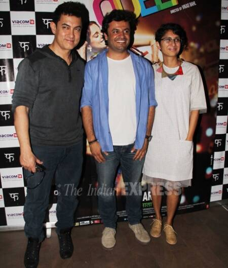 Aamir Khan and Kiran Rao with Vikas Bahl at the special scrceening of 'Queen' on Saturday (March 8).