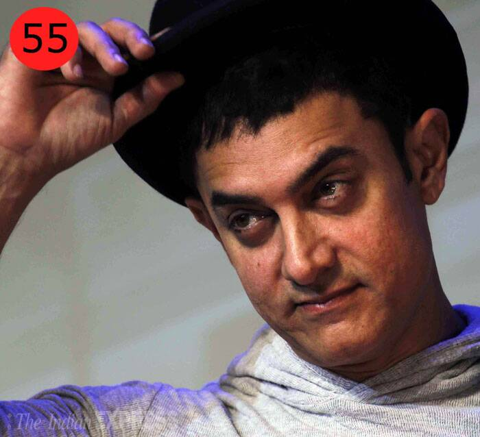 <b>Aamir Khan</b> (48),  actor, producer<br /> <b>WHY</b>: Aamir Khan only competes with Aamir Khan. As Dhoom 3 rakes in Rs 284.27 crore and becomes the biggest all-time hit, Aamir retains his position as Mr Blockbuster.  He is the only actor with two films in the 200-crore club.