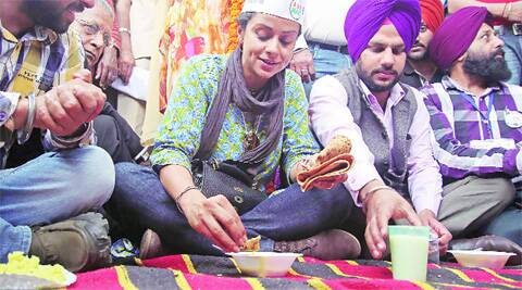 Gul Panag outside PGI in Chandigarh on Thursday. (Photo: Sumit Malhotra)