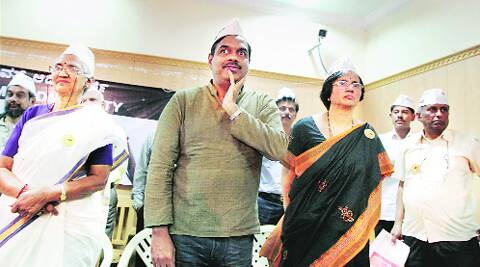 AAP candidates V Balakrishna and Naina P Nayak at the launch of their poll strategy in Bangalore Tuesday. PTI