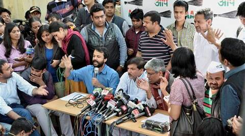 AAP leaders Ashish Khetan (L) Sanjay Singh and Ashutosh speaking to media in New Delhi on Friday. (PTI)