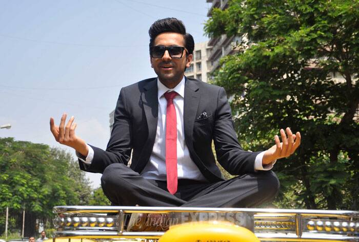 The actor takes a seat on the cab. (Photo: Varinder Chawla)