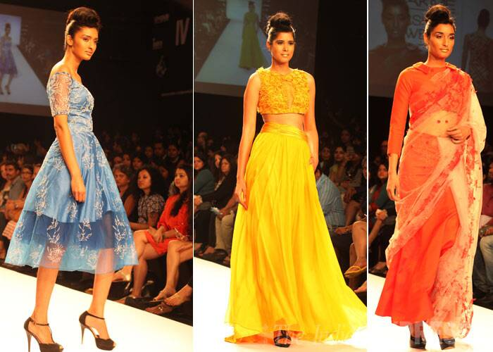 Models showcase designs by Abdul Haider in pale blue, sunshine yellow and tangerine. (IE Photo: Amit Chakravarty)
