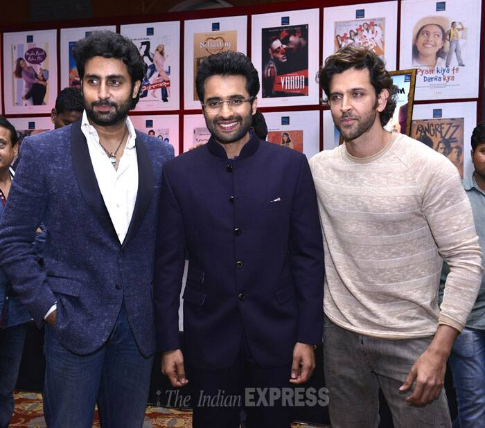 Abhishek Bachchan, Jacky Bhagnani, and Hrithik Roshan get together for a picture. (IE Photo: Amit Chakravarty)