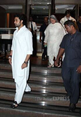 Shah Rukh Khan, Amitabh, Abhishek Bachchan, Madhuri at prayer meet of Juhi Chawla's brother