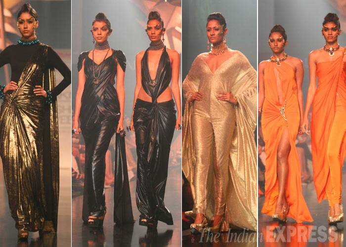 The designer picked dark colours of deadly black as well as gold and orange. (IE Photo: Amit Chakravarty)