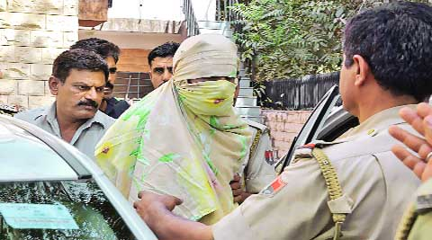 One of the accused in Jodhpur on Sunday. PTI