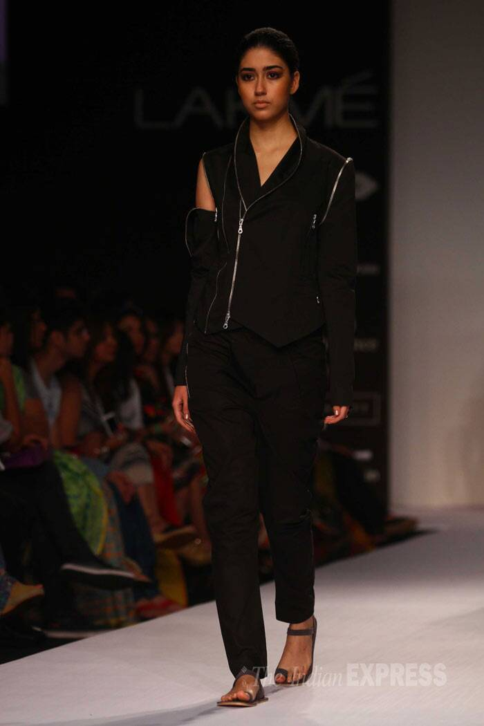 Designer Dhruv Kapur showcased creations from his own label – DRVV. (IE Photo: Amit Chakravarty)