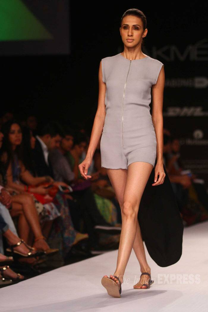 A model displays a dull grey short jumpsuit by DRVV. (IE Photo: Amit Chakravarty)