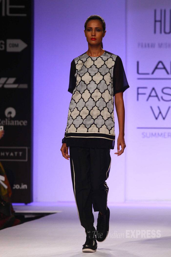 Designer duo Pranav Mishra and Shyma Shetty's label Huemn was also showcased today. (IE Photo: Amit Chakravarty)