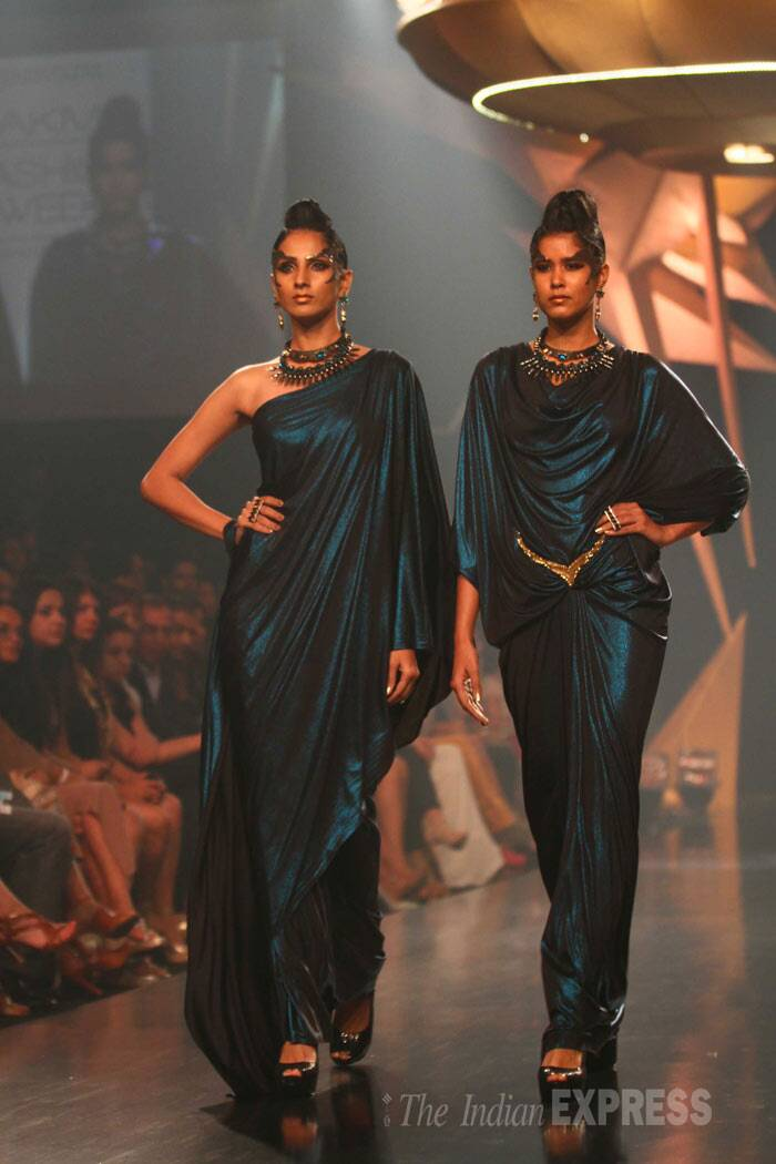 Designer Gaurav Gupta's collection was mostly futuristic and mature. (IE Photo: Amit Chakravarty)