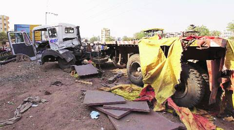 The truck carrying metal plates weighing over 25 tonnes hit seven bikes and a tempo  on Vadgaon bridge at Narhe on Thursday afternoon. (Pavan Khengre)