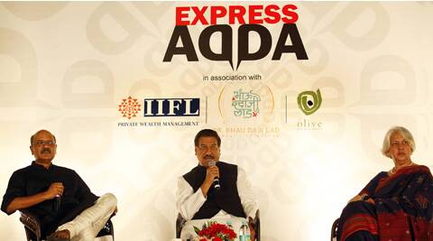 Dr.Isher Judge Ahluwalia, Economist and Author in conversation with Maharashtra Chief Minister Prithviraj Chavan and Shekhar Gupta, Editor-in-Chief,The Indian Express Group at Dr. Bhau Daji Lad Museum in Mumbai on Tuesday evening. (IE Photo: Pradip Das)