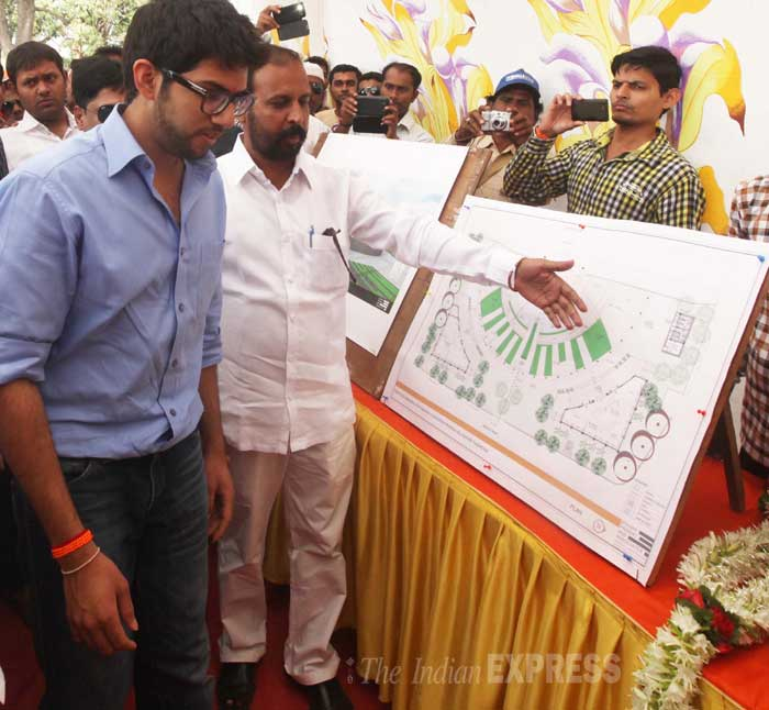 Yuva Sena president Aditya Thackeray made a visit to the construction site of the memorial for Shiv Sena founder Balasaheb Thackeray at Kala Talav in Kalyan in Mumbai on Tuesday (March 4). (IE Photo: Deepak Joshi)