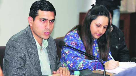 DC Rajat Aggarwal with ADC Isha Kalia in Ludhiana on Thursday. (Gurmeet Singh)