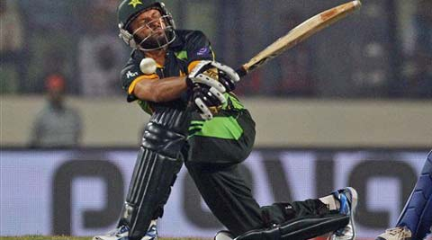 Pakistan's Shahid Afridi plays a shot during the Asia Cup one-day international cricket tournament against India. (AP)