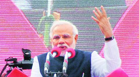 Narendra Modi in Karnataka on Friday. PTI